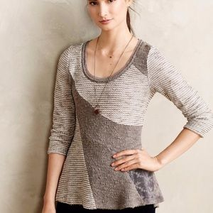 Anthropologie Grey Knit Lace Geometric Sweater